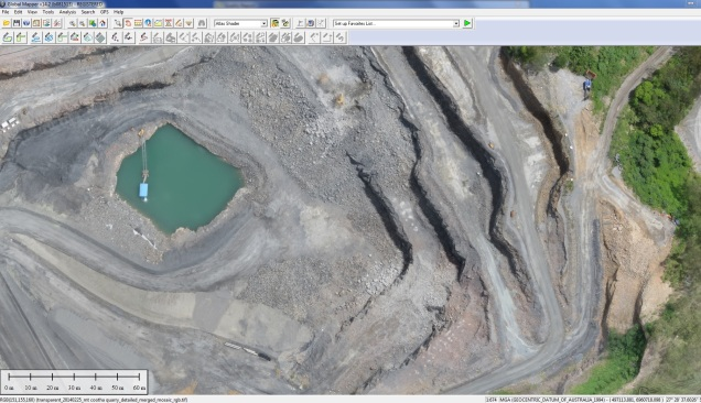 An aerial survey of a quarry captured using a Sensefly eBee UAV